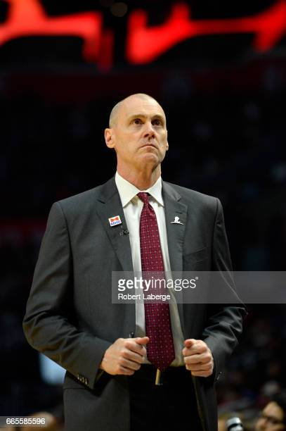 Rick Carlisle head coach of the Dallas Mavericks during the game against the Los Angeles Clippers on April 5 2017 at STAPLES Center in Los Angeles...