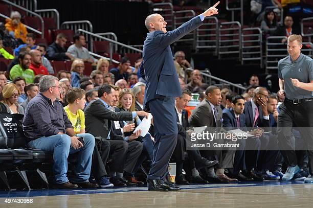 Rick Carlisle Head Coach of the Dallas Mavericks gives direction to his team against the Philadelphia 76ers at Wells Fargo Center on November 16 2015...