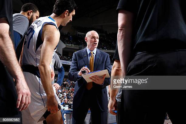 Rick Carlisle head coach of the Dallas Mavericks gives instructions to his team during a stop in the action against the Boston Celtics on January 18...