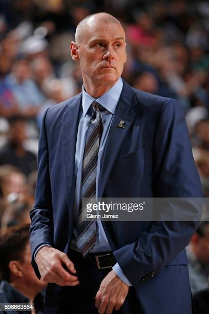Rick Carlisle of the Dallas Mavericks coaches during the game against the Detroit Pistons on December 20 2017 at the American Airlines Center in...
