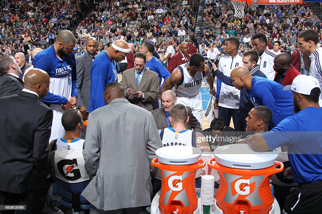 Rick Carlisle of the Dallas Mavericks coaches his team during the game against the San Antonio Spurs on December 20, 2014 at the American Airlines Center in Dallas, Texas.
