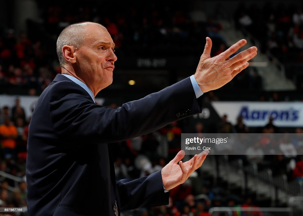 Rick Carlisle of the Dallas Mavericks reacts during the game against the Atlanta Hawks at Philips Arena on December 23, 2017 in Atlanta, Georgia.