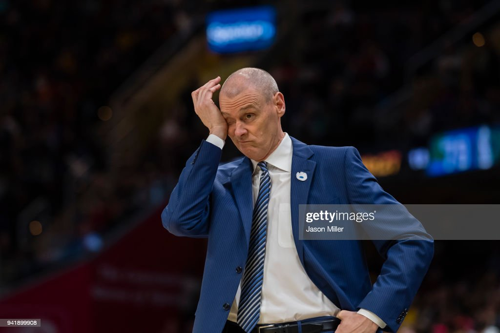 Rick Carlisle of the Dallas Mavericks reacts during the second half against the Cleveland Cavaliers at Quicken Loans Arena on April 1, 2018 in Cleveland, Ohio. The Cavaliers defeated the Mavericks 98-87.