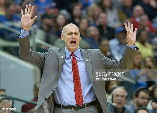 Rick Carlisle of the Dallas Mavericks reacts to a call as the Mavericks take on the Milwaukee Bucks in the first half at American Airlines Center on...