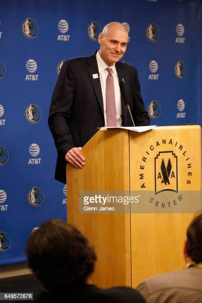 Rick Carlisle of the Dallas Mavericks talks during the post game press conference after the game against the Los Angeles Lakers on March 7 2017 at...