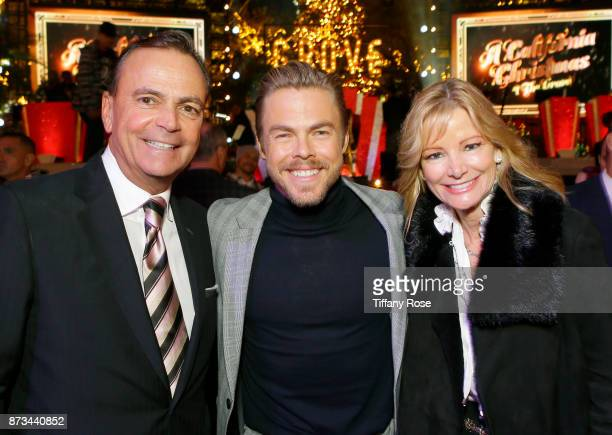 Rick Caruso Derek Hough and Tina Caruso at A California Christmas at the Grove Presented by Citi on November 12 2017 in Los Angeles California