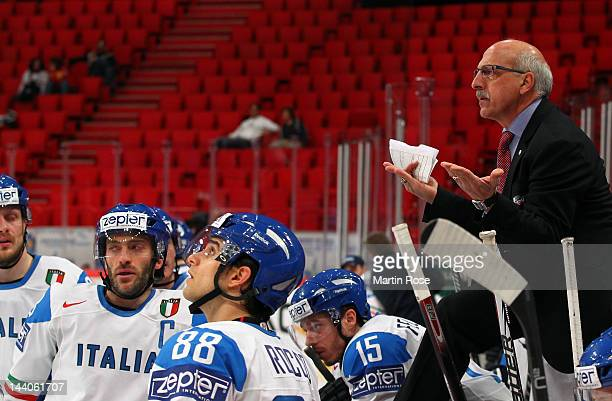 Rick Cornacchia head coach of Italy reacts during the IIHF World Championship group S match between Norway and Italy at Ericsson Globe on May 9 2012...