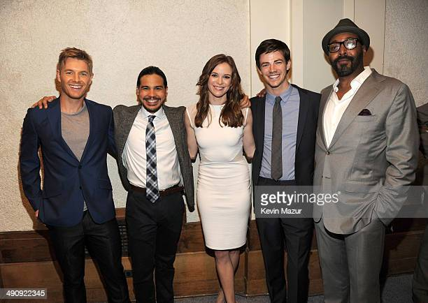 Rick Cosnett Carlos Valdes Danielle Panabaker Grant Gustin and Jesse L Martin attend The CW Network's 2014 Upfront at New York City Center on May 15...