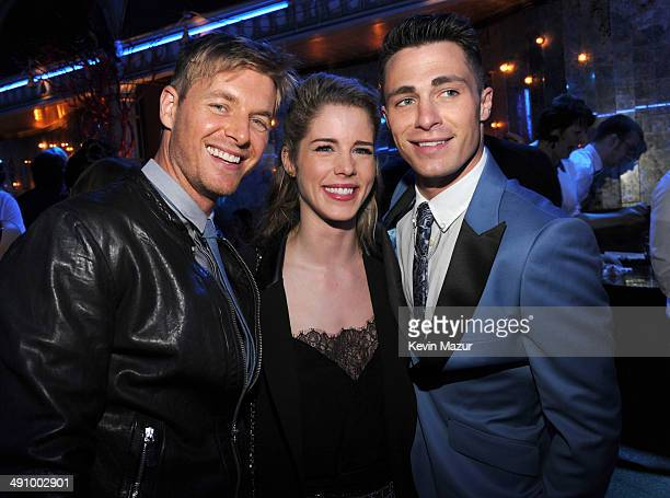 Rick Cosnett Emily Bett Richards and Colton Haynes attend The CW Network's 2014 Upfront party at Paramount Hotel on May 15 2014 in New York City