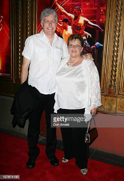 Rick Creighton and Lindy Chamberlain arrive at the official opening night of Dein Perry's Tap Dogs at Capitol Theatre on January 5, 2011 in Sydney,...