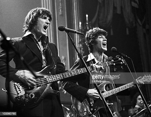 Rick Danko and Robbie Robertson of The Band perform during The Last Waltz at Winterland in November 1976 in San Francisco California