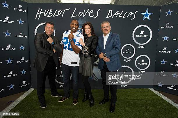 Rick De La Croix Darren Woodson Charlotte Jones Anderson and Ricardo Guadalupe pose for a photo as Hublot unveils the Big Bang Dallas Cowboys...