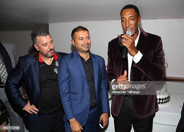 Rick de la Croix, Kamal Hotchandani and Scottie Pippen are seen as Haute Living and Hublot Celebrate Scottie Pippen's 50th Birthday at El Tucan on...