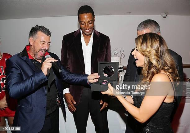 Rick de la Croix, Scottie Pippen and Larsa Pippen are seen as Haute Living and Hublot Celebrate Scottie Pippen's 50th Birthday at El Tucan on...