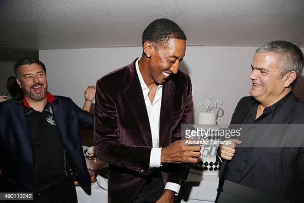 Rick de la Croix, Scottie Pippen and Ricardo Guadalupe are seen as Haute Living and Hublot Celebrate Scottie Pippen's 50th Birthday at El Tucan on...