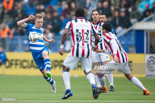 Rick Dekker of PEC Zwolle Eyong Enoh of Willem II Fran Sol of Willem II Pedro Chirivella of Willem II during the Dutch Eredivisie match between PEC...