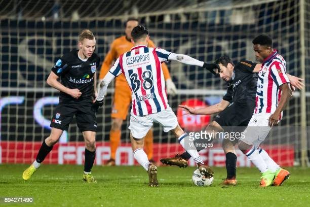 Rick Dekker of PEC Zwolle Ismail Azzaoui of Willem II Dirk Marcellis of PEC Zwolle Bartholomew Ogbeche of Willem II during the Dutch Eredivisie match...