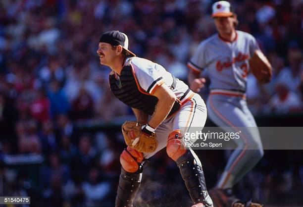 Rick Dempsey catcher for the Baltimore Orioles watches the field for action at home against the Philadelphia Phillies during the World Series at...