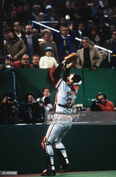 Rick Dempsey of the Baltimore Orioles catches a pop fly against the Philadelphia Phillies during the World Series at Veterans Stadium in Philadelphia...