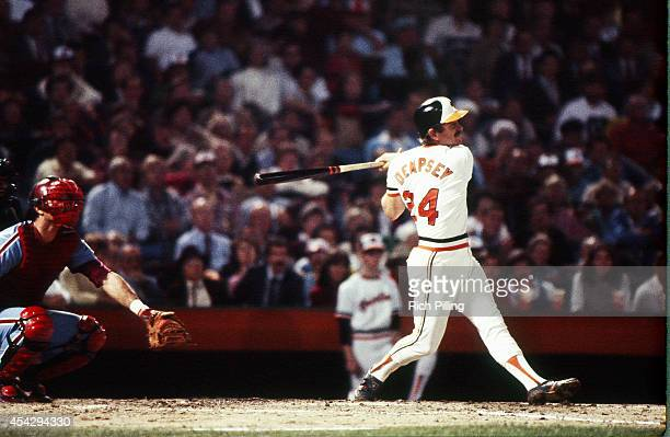 Rick Dempsey of the Baltimore Orioles Series MVP bats during World Series game one between the Philadelphia Phillies and Baltimore Orioles on October...