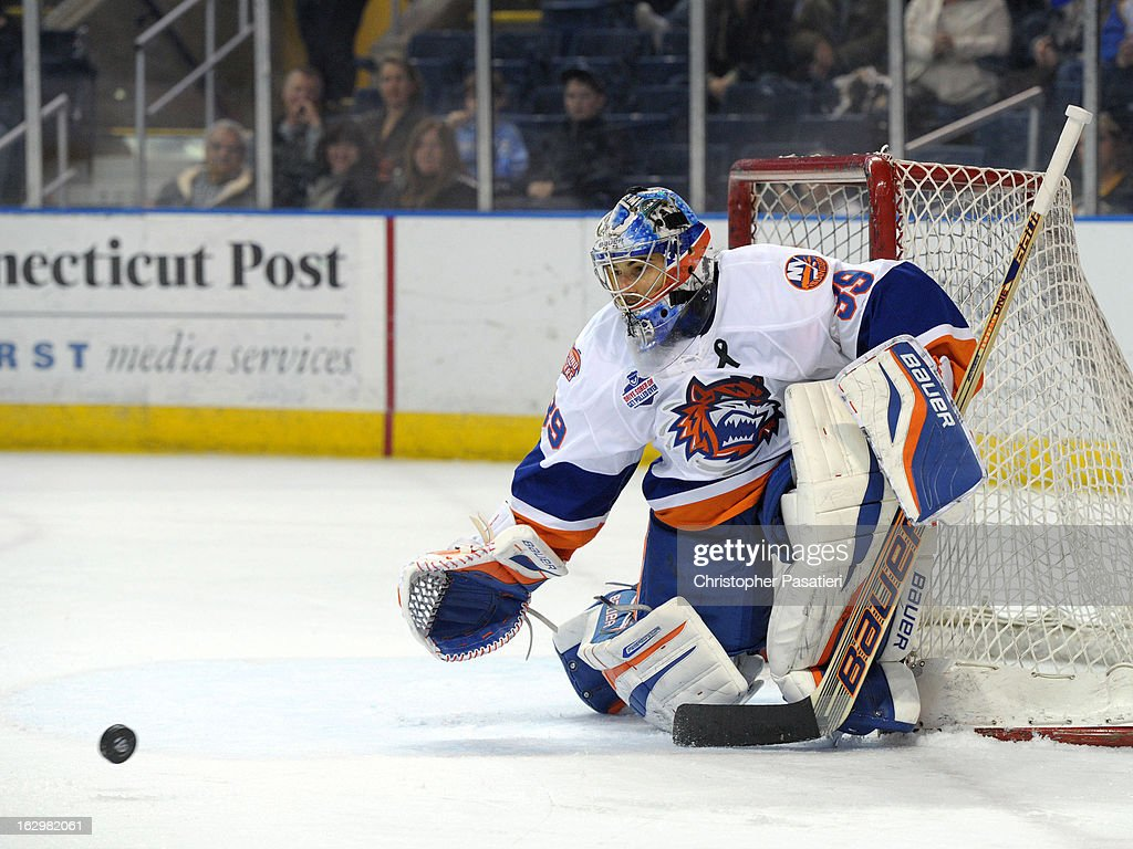 Rick DiPietro #39 of the Bridgeport Sound Tigers prepares to make a save during an American Hockey League game against the Adirondack Phantoms on March 2, 2013 at the Webster Bank Arena at Harbor Yard in Bridgeport, Connecticut.