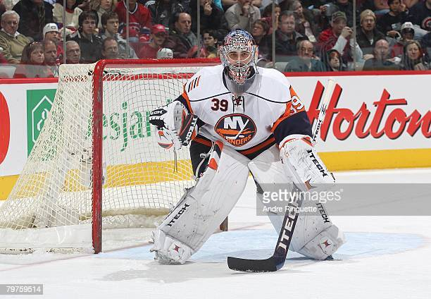 Rick DiPietro of the New York Islanders guards his net against the Montreal Canadiens at the Bell Centre on February 2, 2008 in Montreal, Quebec.
