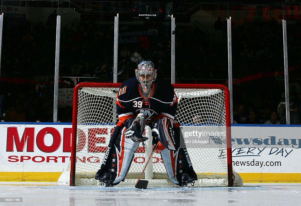 Rick DiPietro of the New York Islanders prepares to play the