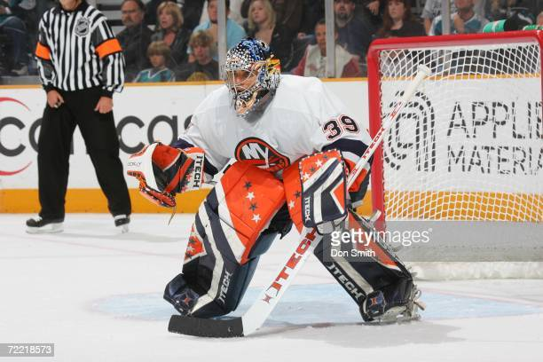 Rick DiPietro of the New York Islanders readies for a shot during the game against the San Jose Sharks on October 16 2006 at the HP Pavilion in San...