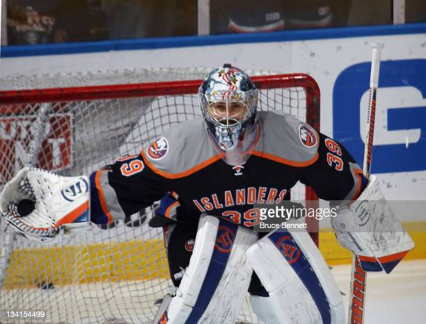 3c032370f Rick DiPietro of the New York Islanders skates in warmups prior to the game  against the