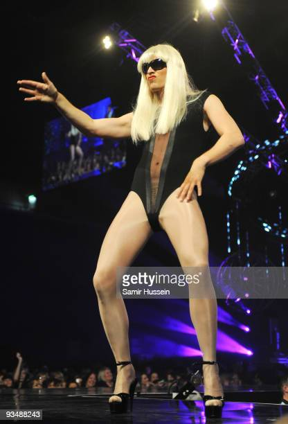 Rick Edwards dressed as Lady Gaga performs at the T4 Stars of 2009 at Earls Court Arena on November 29 2009 in London England