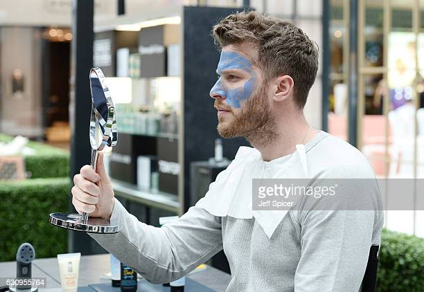 Rick Edwards enjoys the Esquire Grooming Station at Westfield London on May 11 2016 in London England