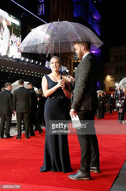 Rick Edwards interviews Kate Winslet at the 'Steve Jobs' Closing Night Gala during the BFI London Film Festival at Odeon Leicester Square on October...