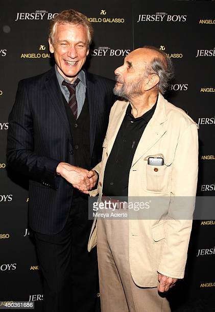 Rick Elice and Stanley Donen attend the Jersey Boys Special Screening dinner at Angelo Galasso House on June 9 2014 in New York City