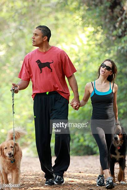 Rick Fox and Eliza Dushku walk their dogs and piggy back ride on October 24 2010 in Los Angeles California