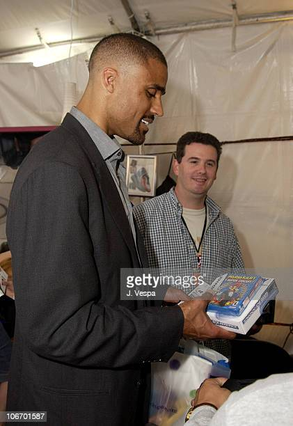 Rick Fox with Game Boy Advance games during Nickelodeon's 15th Annual Kids Choice Awards Backstage Creations Talent Retreat Day 2 at Barker Hangar in...