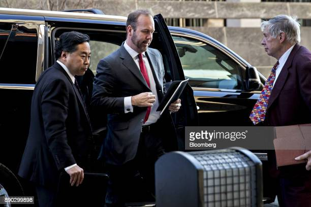 Rick Gates former deputy campaign manager for Donald Trump center arrives at the US Courthouse for a status conference in Washington DC US on Monday...
