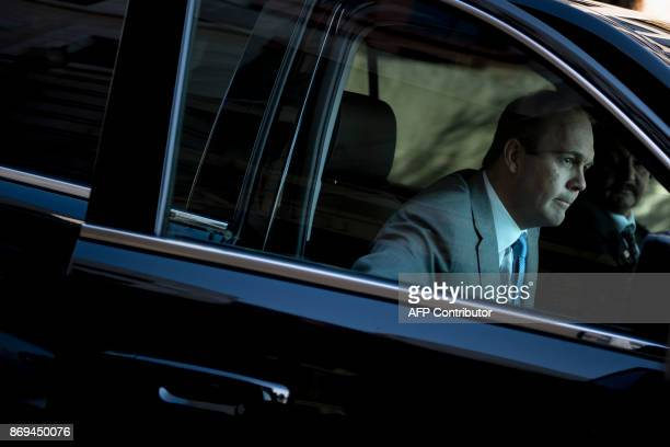 Rick Gates former Trump campaign advisor arrives for a hearing at the US District Court for DC November 2 2017 in Washington DC / AFP PHOTO / Brendan...