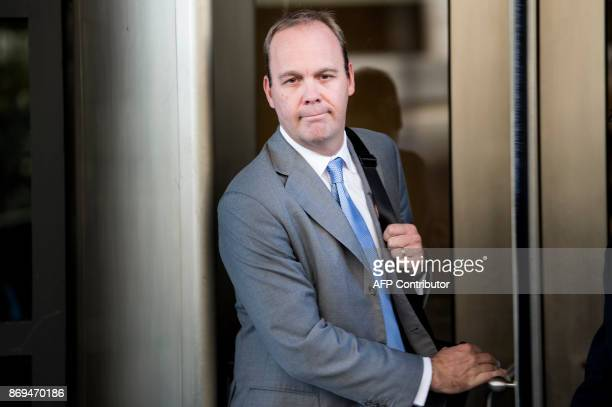 Rick Gates former Trump campaign advisor leaves after a hearing at the US District Court for DC on November 2 2017 in Washington DC / AFP PHOTO /...