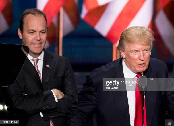Rick Gates looks on as GOP Presidential candidate Donald Trump checks the podium early Thursday afternoon in preparation for accepting the GOP...