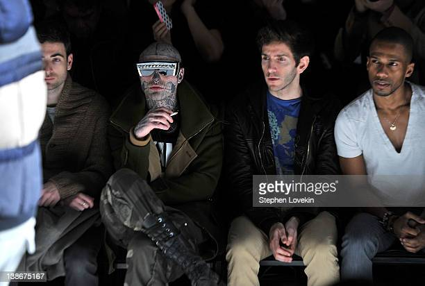 Rick Genest actor Eric West and Donald Aversa attend the General Idea Fall 2012 fashion show during MercedesBenz Fashion Week at The Studio at...