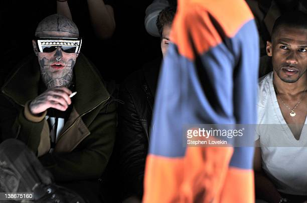 Rick Genest and Eric West attend the General Idea Fall 2012 fashion show during MercedesBenz Fashion Week at The Studio at Lincoln Center on February...