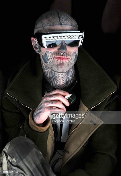 Rick Genest attends the General Idea Fall 2012 fashion show during MercedesBenz Fashion Week at The Studio at Lincoln Center on February 10 2012 in...
