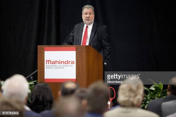 Rick Haas president and chief executive officer of Mahindra Automotive North America speaks during an event at the company's new facility in Auburn...