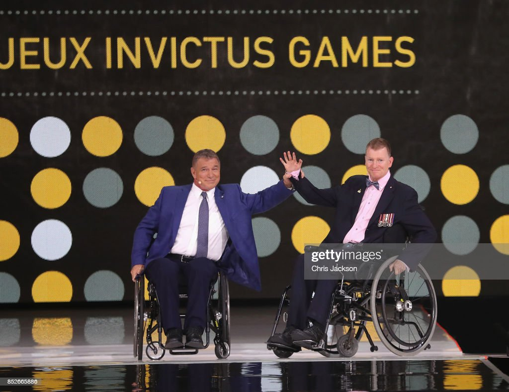 Rick Hansen and Captain Trevor Greene speak during the opening ceremony of the 2017 Invictus Games at Air Canada Centre on September 23, 2017 in Toronto, Canada.The Invictus Games is the only international sporting event for wounded, injured and sick servicemen and Women (WIS). This year's games will bring together 550 competitors from 17 nations.
