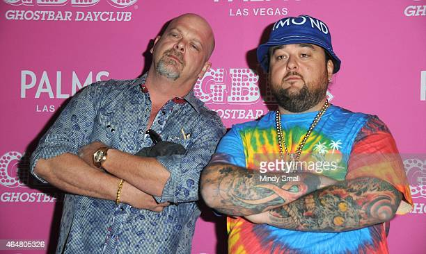 """Rick Harrison and Austin """"Chumlee"""" Russell arrive at Ghostbar Dayclub at the Palms Casino Resort on February 28, 2015 in Las Vegas, Nevada."""