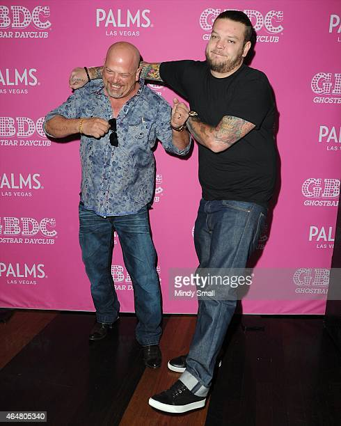 Rick Harrison and Corey Harrison arrive at Ghostbar Dayclub at the Palms Casino Resort on February 28 2015 in Las Vegas Nevada