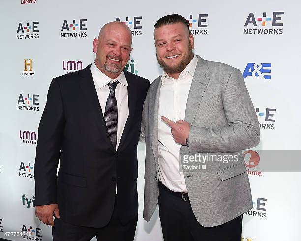 Rick Harrison and Corey Harrison attend AE Network's 2015 Upfront at Park Avenue Armory on April 30 2015 in New York City