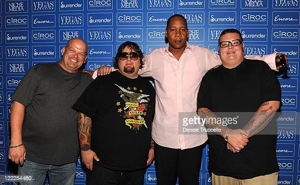 Rick Harrison Chumlee Mark Curry and Corey Harrison arrive at the Vegas Magazine's 7th Anniversary party at Surrender Nightclub at Encore Las Vegas...