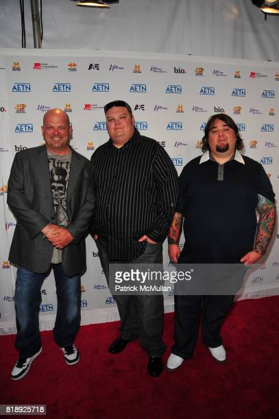 Rick Harrison, Corey Harrison and Chumlee attend A&E Television Networks Inaugurates New Media Brands With UPFRONT Event at IAC Building on May 5,...