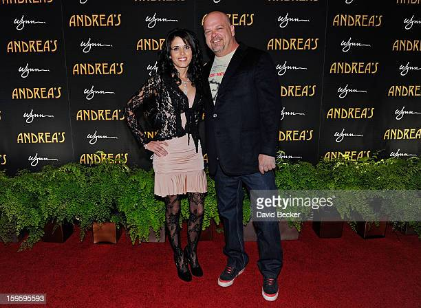 Rick Harrison from History's Pawn Stars television series and Deanna Burditt arrive for the grand opening celebration at Andrea's at the Wynn Las...